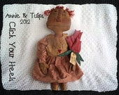 Raggedy Annie & Tulips primitive doll pattern  click your heels