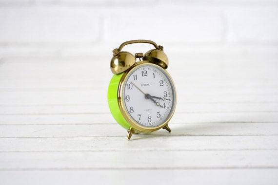 Vintage German Alarm Clock Lime Green and Gold