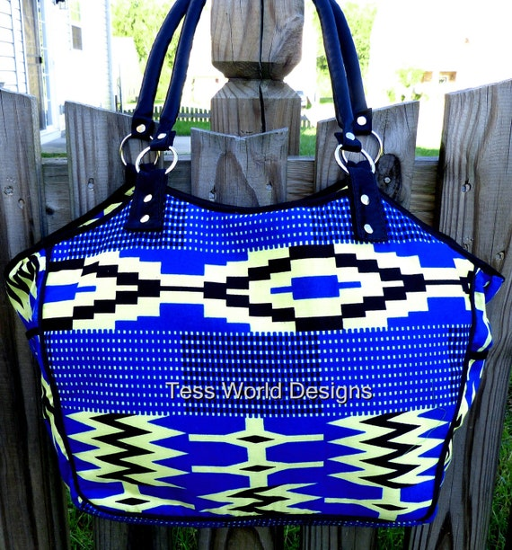 Fabric / African Kente Cotton Fabric Print /Handbag /  Tote / Purse with metal hardware by theresaboutique on Etsy