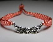Heart with wings bracelet