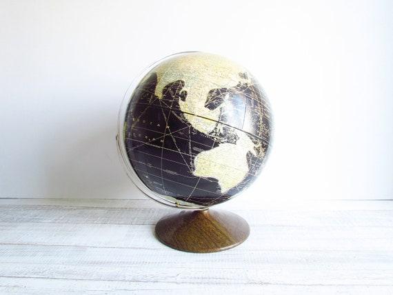 Vintage Black Globe Rand McNally 1963