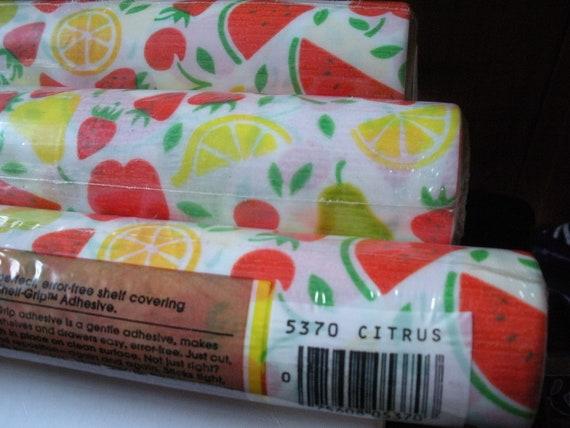 RESERVED 80's Retro Rubbermaid Fruit Shelf Liners, Bright Apples, Pears, Watermelon, Cherries, Oranges, Strawberries