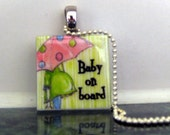 Baby on Board Glass Tile Pendant Necklace