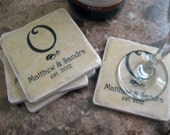 Personalized Couple Gift- Initial/Couple's Names/Established Date/ Set of 4 Tile Coasters