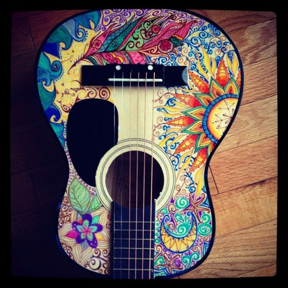How To Paint A Guitar : items similar to hand painted acoustic guitar on etsy ~ Russianpoet.info Haus und Dekorationen