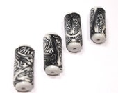 Tube beads Polymer Clay in Black, White and Greys. Unique pattern, Set of 4