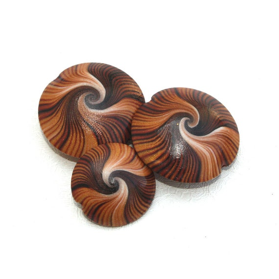 Polymer Clay beads, elegant beads, swirl lentil beads in brown, bronze, gold and white, unique pattern, Set of 3