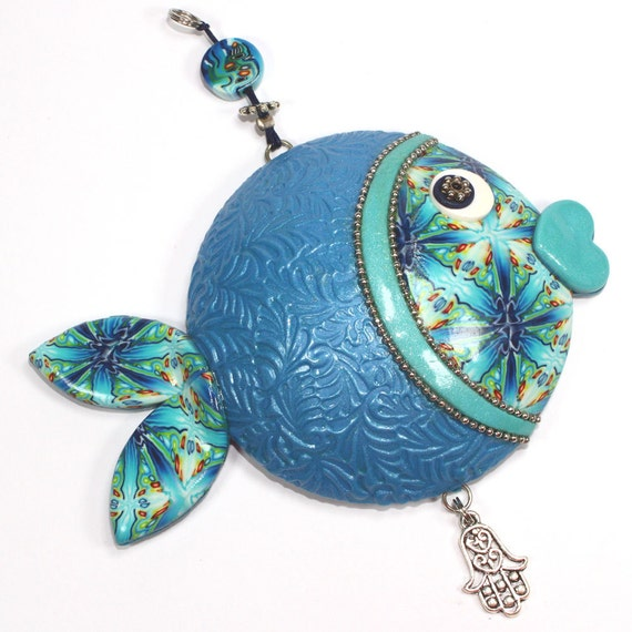 Blue fish wall decor, lucky fish, fish of fortune, Polymer clay handmade fish in blue, turquoise, green, white and silver