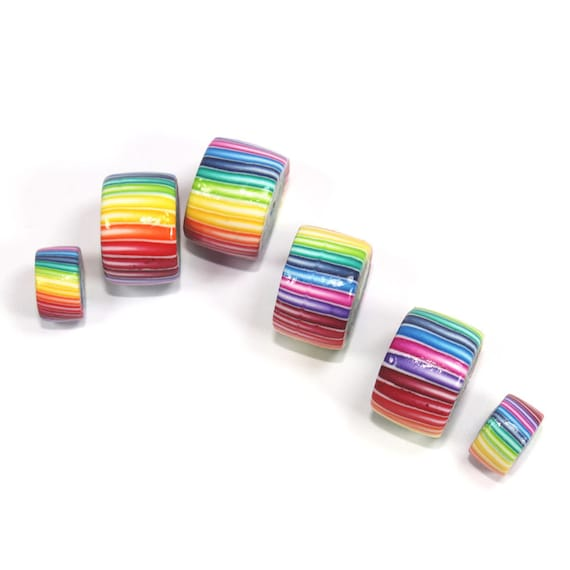 Polymer clay tube beads, rainbow tube beads, unique colorful beads, stripes rainbow beads, set of 6