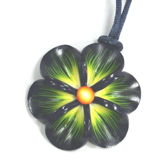 Blue, green and orange trendy necklace, Millefiori flower necklace, Spring flower necklace, polymer clay flower necklace, elegant gift