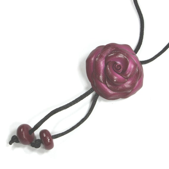 Adjustable polymer clay rose necklace, elegant rose necklace, maroon and white rose pendant, gift for teens and women