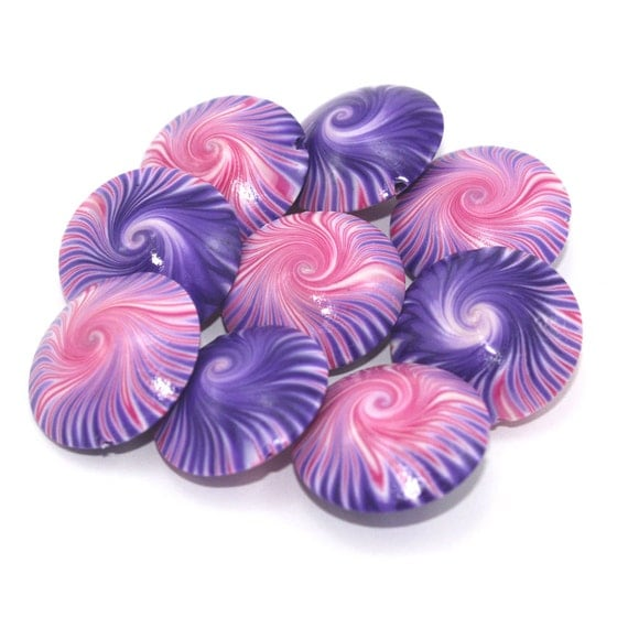 Pink and purple swirl lentil  polymer Clay beads, elegant beads, unique set of 9