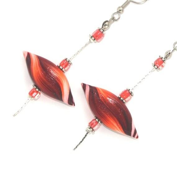 Polymer clay earrings, elegant earrings, leaf shaped earrings, handmade earrings in maroon, red and orange, stripes pattern