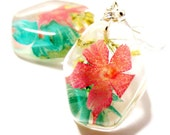Flirty Resin Dangle Earrings Pink and Blue flowers. Resin, Glass and Nature: Cottonwood