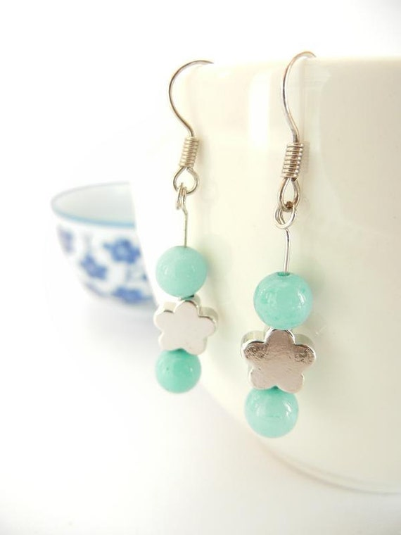 Japanese Ume (plum Blossom) Dangle Earrings - White Gold Plate and Turquoise Stone