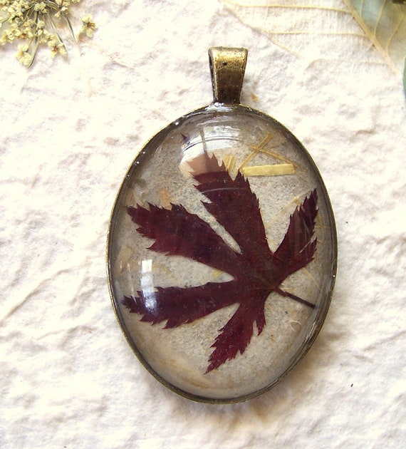 Real Pressed Red Japanese Maple Oval Pendant