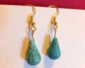 Handmade Tear Drop Turquoise Earrings in Gold