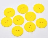 10 Round Plastic Buttons Two Hole 23mm Yellow - 10 Pack PB42