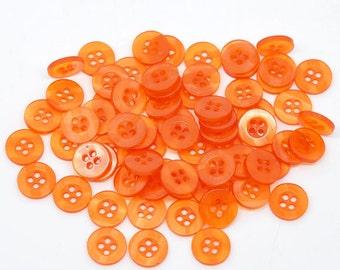Round Plastic Buttons Four Hole 11mm Translucent Orange Buttons - 10 Pack PB57