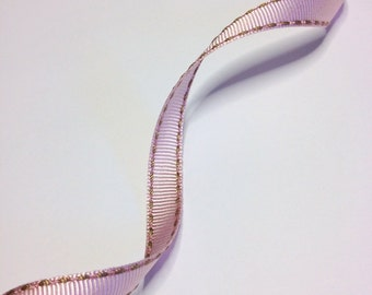 "5M - High Quality Stitched Grosgrain  Ribbon ""Julie"" PINK - LATTE - 5.5 Yards"