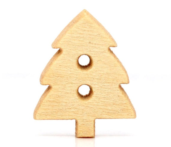 20 Christmas Tree Buttons Wood Two Hole Lightly Lacquered 14x12mm Pack of 20