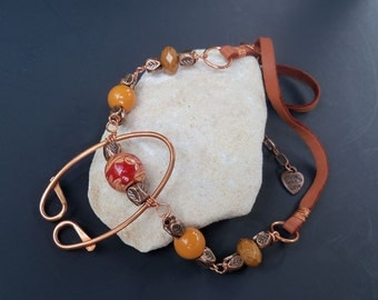 Copper necklace, copper pendant, necklace, copper, leather and bead chain