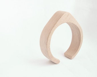 25 mm Wooden cuff unfinished drop shape - natural eco friendly TA25O