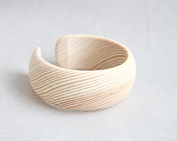 30 mm Wooden cuff unfinished round with break - natural eco friendly DE30