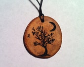 Custom Tree with Moon and Birds Wood Pendant Necklace