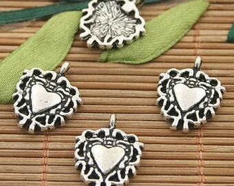 40pcs dark silver tone heart charms h3179