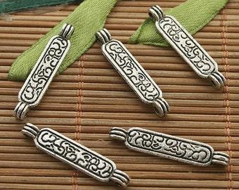 50pcs dark silver tone bar connector charms h3339