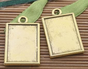12pcs dark gold tone picture frame charm h3357