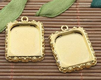 15pcs gold tone picture frame charm h3392