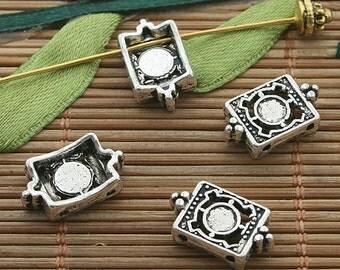40pcs dark silver tone cute spacer connector h3409