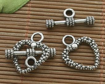 25sets dark silver tone heart design toggle clasp h3515
