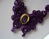 Cameo Necklace, Purple Butterfly Necklace, Purple Applique Necklace