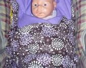 Car Seat Blanket , Stroller Blanket made from flannel- Reversible