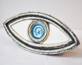 Stoneware blue eye sculpture, high fire Greek ceramics, turquoise blue and white eye