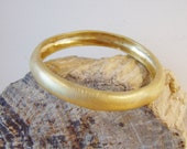 Solid brass matte finish bangle, a gold plated, modern classic, made to order