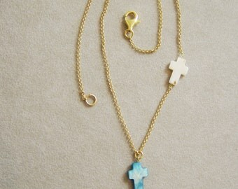 Blue cross necklace, thin chain vermeil necklace with two mother of pearl crosses, gold chain necklace with two crosses, one blue one white