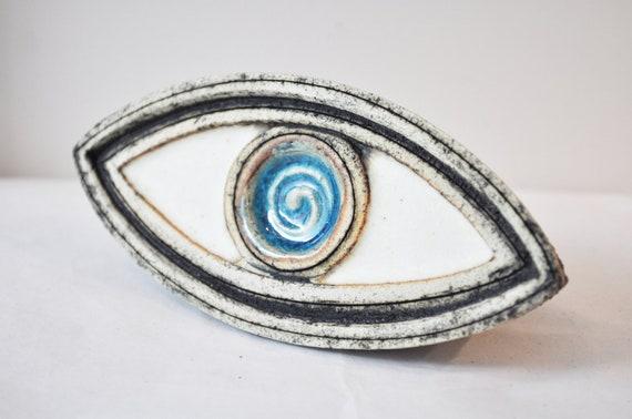 Stoneware blue eye sculpture, high fire Greek ceramics, turquoise blue and white eye