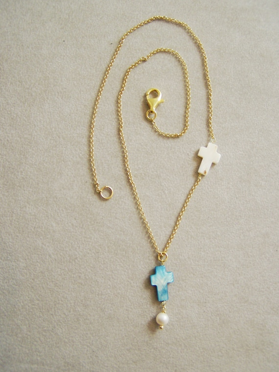 Thin chain vermeil necklace with  two mother of pearl crosses, made to order