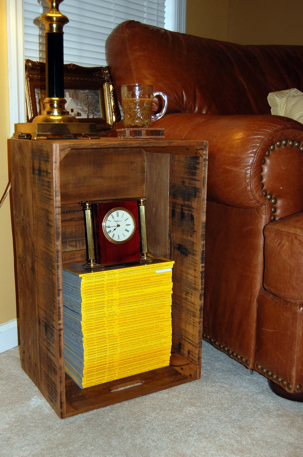 Side table bed side table end table crate reclaim wood for Wooden crate bedside table