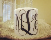 Monogrammed White 3-Wick Candle