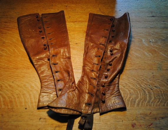 RESERVED for Roseanne..........victorian leather shank button SPATS rare  authentic Made in England womens brown leather spats