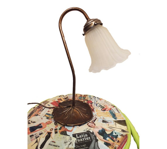 1960s Lily Pad Lamp With Frosted Glass Flower Shade Brass Base