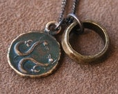 Solid Bronze Greek Coin Necklace - Merman Serpent Triton