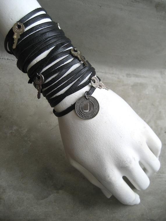 Leather Bracelet - Leather Cuff - Black - Charm Bracelet - Key - Boho - Journey - Piece Lust