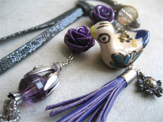 Assemblage Necklace - Boho - Purple - Bird - Tassel - Leather - Flower - Vintage - Dangling - Long Charm Necklace Necklace - OOAK