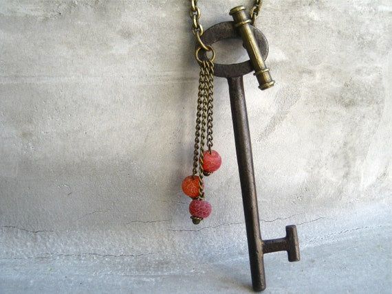 Antique Skeleton Key Necklace - Key Necklace - Steampunk - Toggle Clasp - OOAK - Hardware Jewelry - Red Beads - Piece Lust